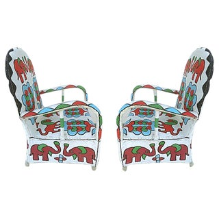 Nigerian Yoruba Tribe Beaded Chairs - A Pair