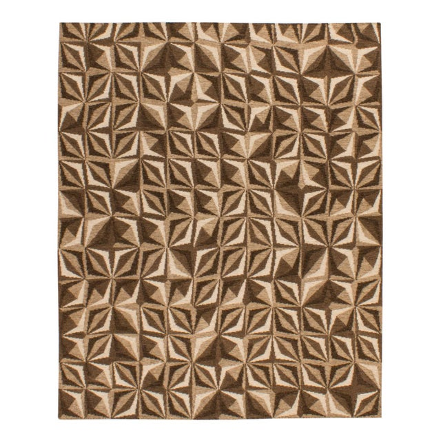 2010s Solo Rugs Grit and Ground Collection Contemporary Samoa Hand-Knotted Flatweave Area Rug, Brown, 8' X 10' For Sale - Image 5 of 5