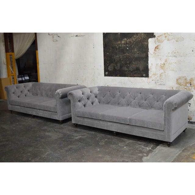 Textile Modern Velvet Chesterfield Sofas- A Pair For Sale - Image 7 of 7