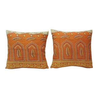 "Pair of Orange Indian ""Kantha"" Quilted Pillows"