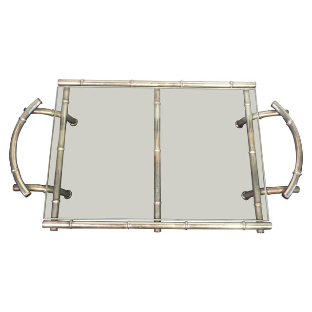 Vintage Silver & Glass Faux Bamboo Serving Tray - Image 1 of 5