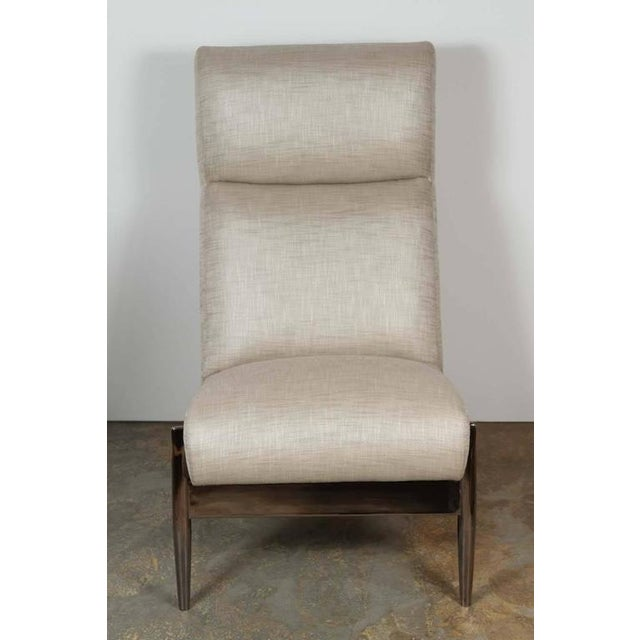 Not Yet Made - Made To Order Paul Marra Slipper Chair in Black Nickel with Linen For Sale - Image 5 of 7