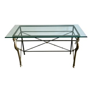 Vintage Glass and Brass Italian Console Table with Seahorse Motif For Sale
