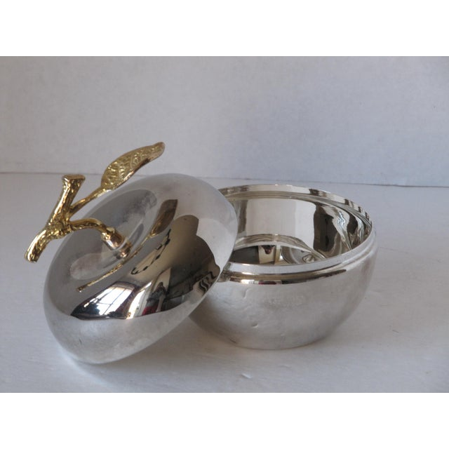 Vintage silver-plate and brass lidded apple bowl. Beautiful piece to serve or store jewelry, candy, small items. NO makers...