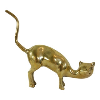 Mid Century Brass Cat Sculpture