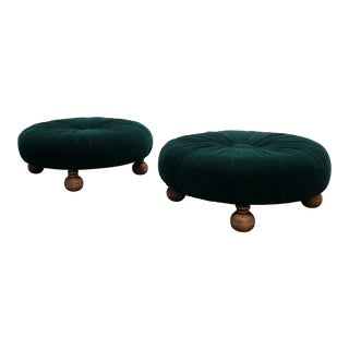 Antique Emerald Green Velvet Round Button Pleated Ottomans - A Pair
