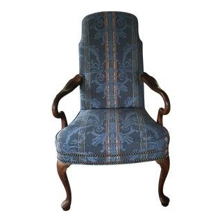 Ethan Allen Queen Anne Blue Upholstered Chair