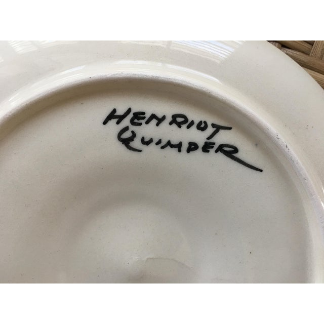 French faïence oyster plate from Henriot Quimper, black glaze with shell & seaweed motif. Appears to have never been used,...