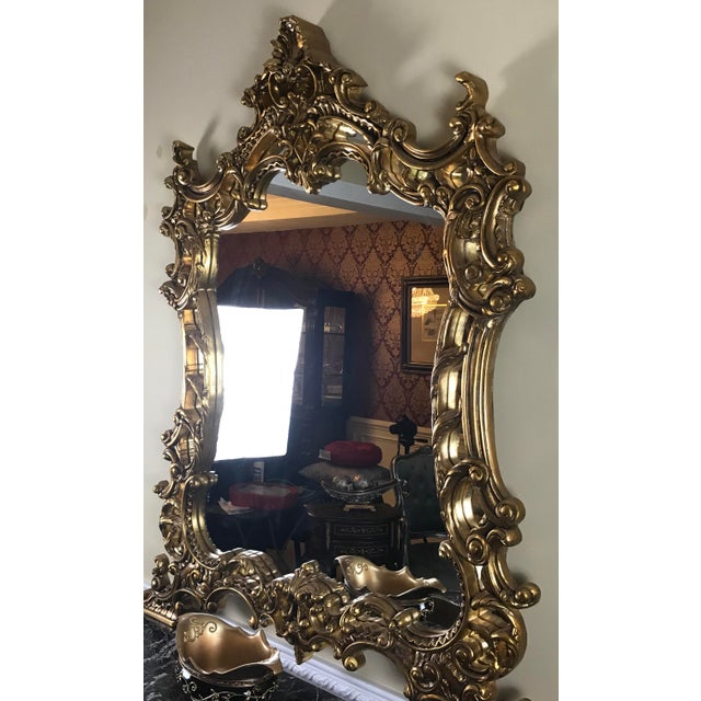 Louis XV Giltwood Mirror & Console For Sale - Image 4 of 7