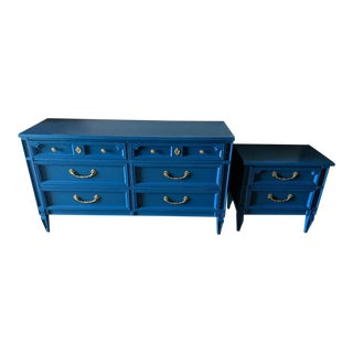 1960s Italian Basic Witz Blue High Gloss Six-Drawer Dresser and Nightstand Set - 2 Pieces For Sale