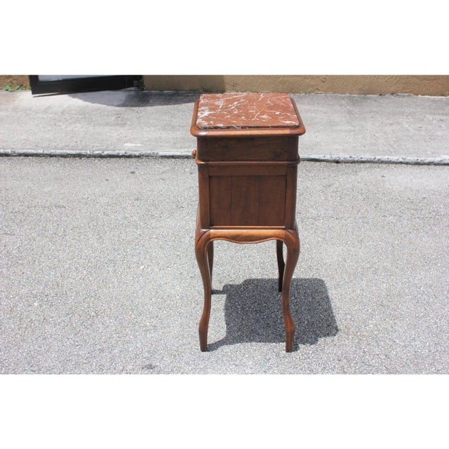 Wood 1900s French Louis XV Solid Walnut Nightstand For Sale - Image 7 of 13