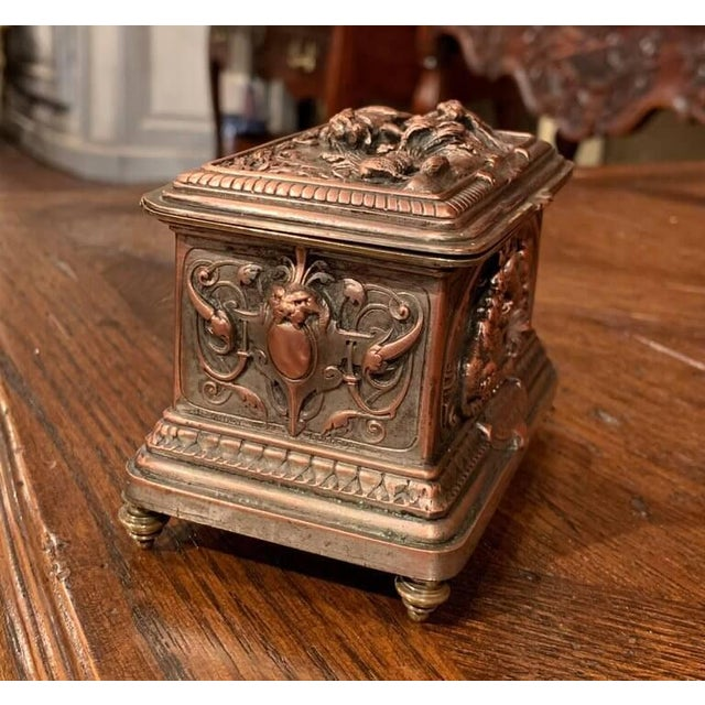 Late 19th Century 19th Century French Silver Plated on Copper Jewelry Box With Repoussé Hunt Motif For Sale - Image 5 of 7