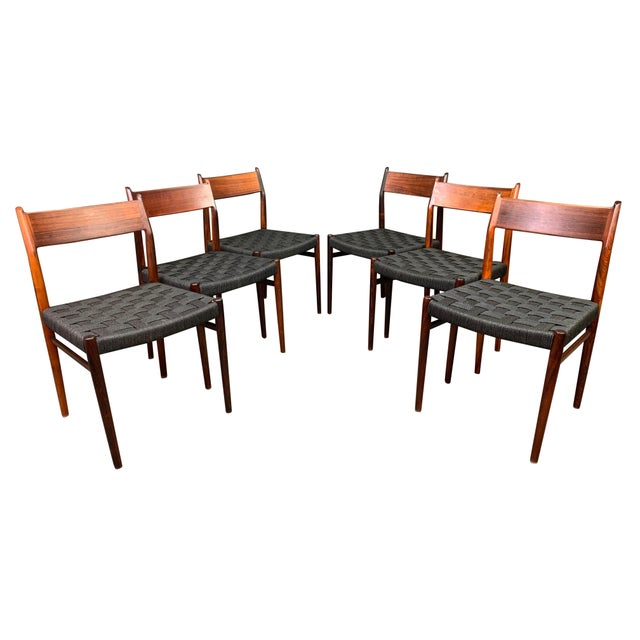 Set of Six Vintage Mid Century Danish Modern Rosewood Dining Chairs Model #418 by Arne Vodder for Sibast For Sale - Image 12 of 12