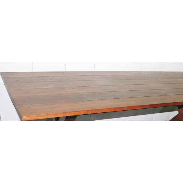 Wood Custom X Base Dining Table For Sale - Image 7 of 10