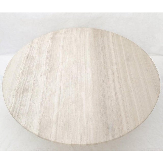 """Metal 72"""" Diameter 1"""" Travertine Marble-Top Round Dining Conference Table Star Base For Sale - Image 7 of 13"""