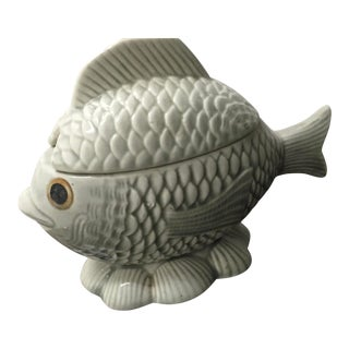 1950s Mid-Century Modern Ceramic Fish Sugar Bowl For Sale