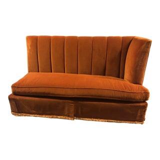 Contemporary Orange Velvet Banquette For Sale