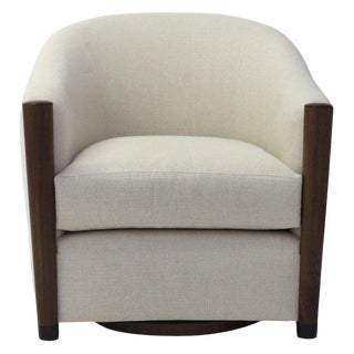 Rounded Tub Club Chair on Swivel Shown in Linen Fabric With Wood Arm Post Detail For Sale