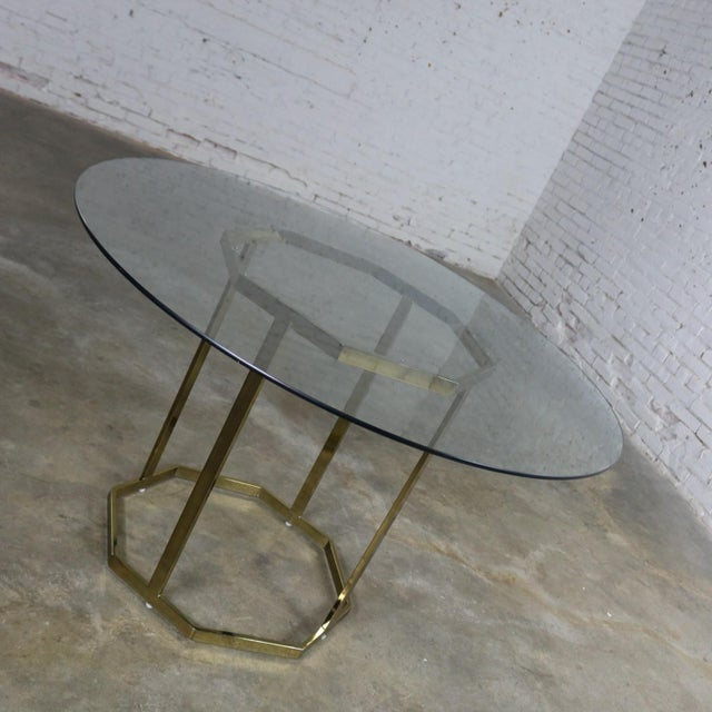 Modern Milo Baughman Style Octagon Brass Plated Metal Dining Table With Round Glass Top For Sale - Image 3 of 12