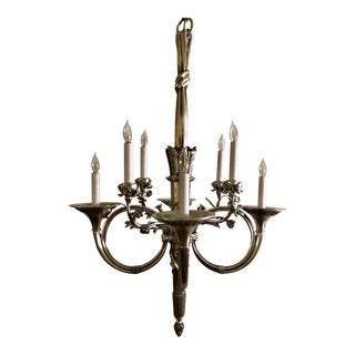 Antique French Louis XVI Silvered Bronze Chandelier, Circa 1880. For Sale