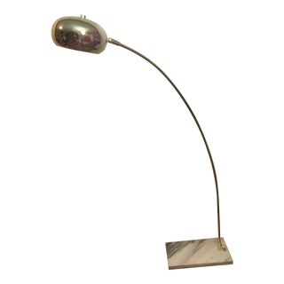 Vintage Mid Century Modern Italian White Marble Base Arc Lamp Medium Size For Sale