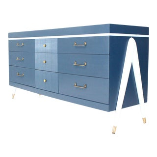 White and Blue Exposed Sculptural Compass Shape Legs Nine Drawers Dresser For Sale