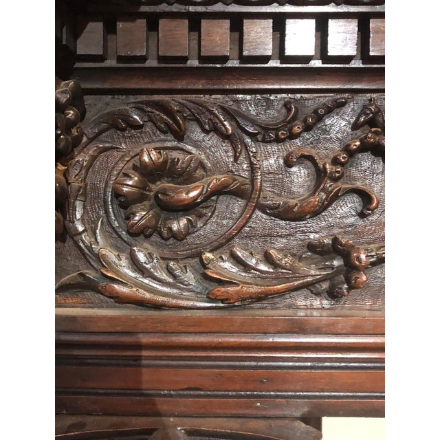 French Hand-Carved Renaissance Style Wood Mantel with Trumeau For Sale - Image 3 of 9