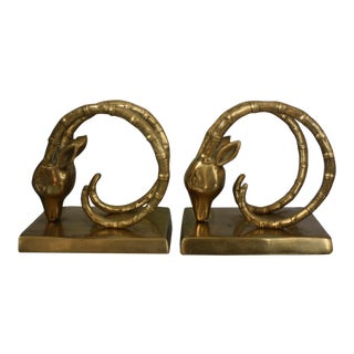 Vintage Solid Brass Ibex / Gazelle Bookends - a Pair