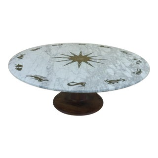 1960s Mid Century Modern Cut Out Marble Zodiac Table