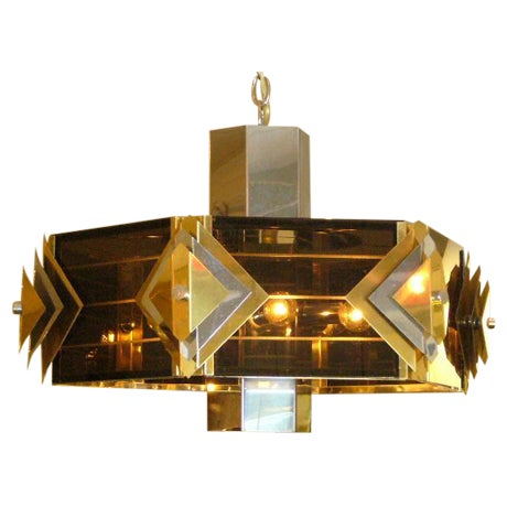 Amazing Modernist Cityscape Style Mixed Metal & Lucite Chandelier For Sale