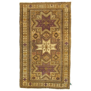 Late 19th Century Antique Azerbaijan Kazak Lambswool Rug - 3′8″ × 6′3″ For Sale