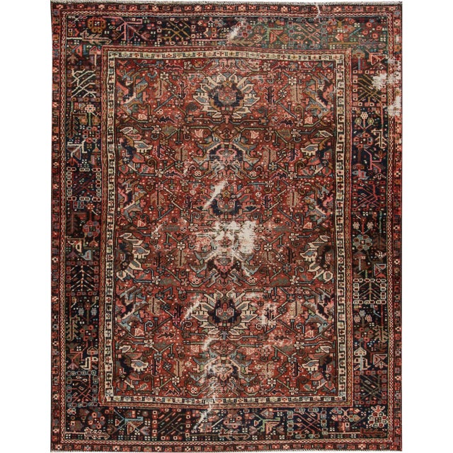"Apadana Antique Persian Heriz Rug - 4'10"" X 6' For Sale"