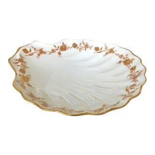 1950s Gilded Limoges Porcelain Scallop Plate for Serving Oysters For Sale