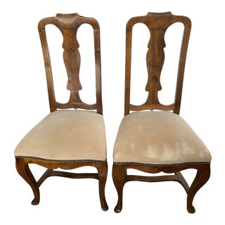Vintage Queen Anne Style Walnut Wood Side Chairs - a Pair For Sale
