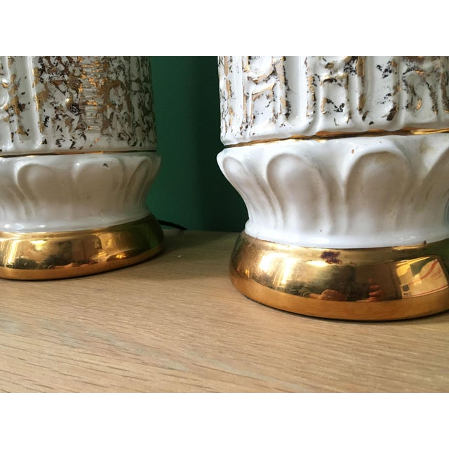 Metal Vintage 1950s White and Gold Table Lamps - a Pair For Sale - Image 7 of 10