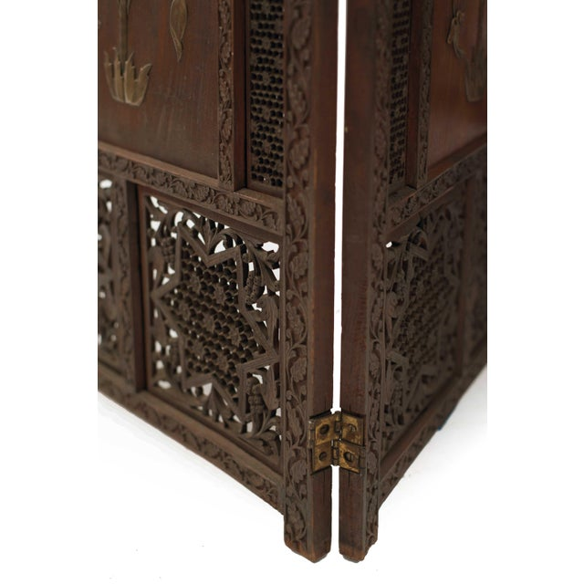 Moorish Carved Teak 3-Fold Screen For Sale In New York - Image 6 of 8