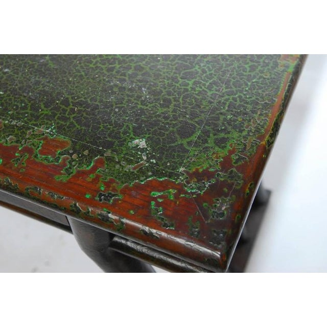 Green Chinese Deco Lacquered Desk With Serpentine Legs For Sale - Image 8 of 9