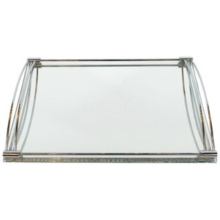 French Art Deco Streamlined Chrome and Chain Beveled Mirror Bar Tray For Sale