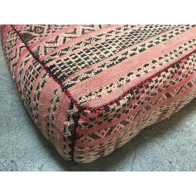 Textile Moroccan Floor Pillow Tribal Seat Cushion Made From a Vintage Berber Rug For Sale - Image 7 of 13