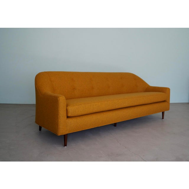 Mid-Century Modern Mid-Century Modern Sofa Reupholstered in Orange Wool For Sale - Image 3 of 13