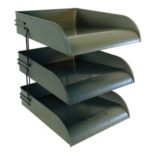 Vintage Three-Tier Metal File Tray For Sale