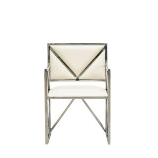 Clover Contemporary Cream Leather X Arm Chair, Accent Home Furniture, Living Room, Dining Room, Geometric Design-Stainless Steel For Sale