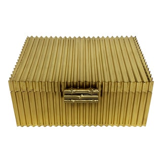 Global Views Brass Corrugated Bamboo Box For Sale