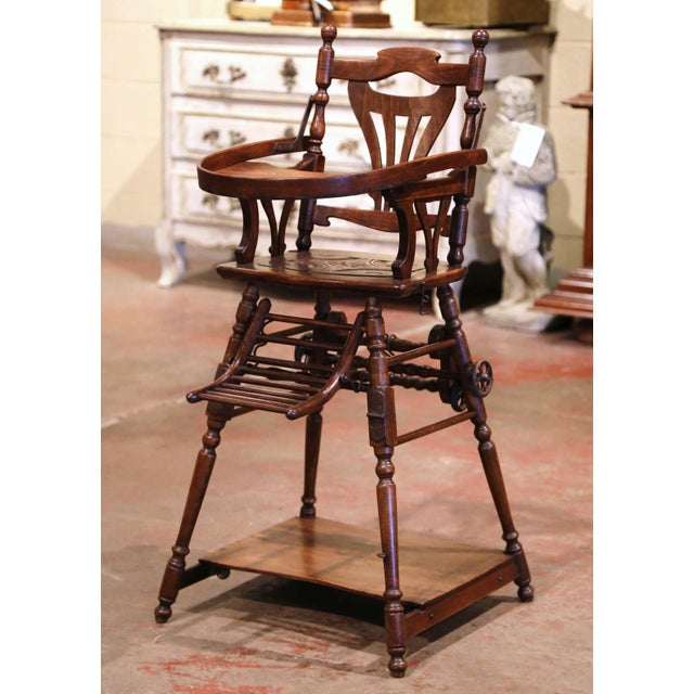 Mid-20th Century French Carved Folding Up and Down Child High Chair on Wheels For Sale - Image 4 of 13