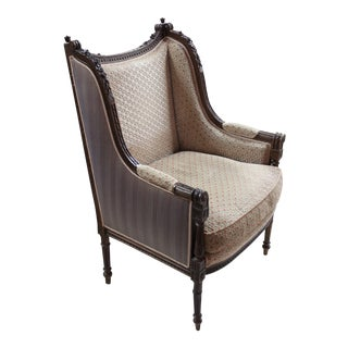 Louis XVI Style Carved Walnut Bergere
