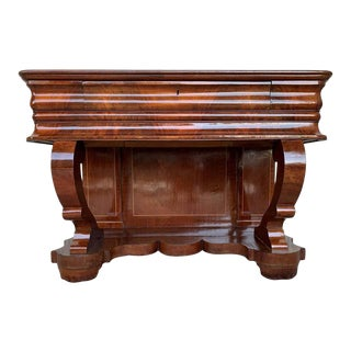 Early Biedermeier Period Walnut Console Table With Drawer, Austria, Circa 1830 For Sale