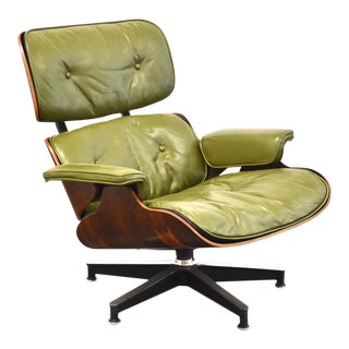 Eames 670 Rosewood Green Leather Lounge Chair For Sale