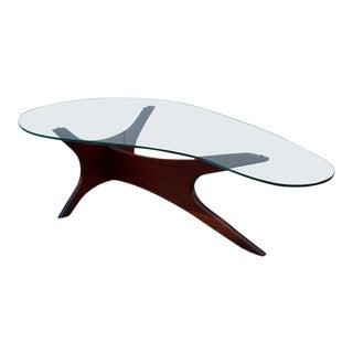 Adrian Pearsall Kidney Shape Walnut Coffee Table For Sale