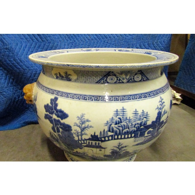 Vintage Asian Blue and White Urn Pot With Applied Face Handles For Sale - Image 4 of 9