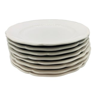 Queen Anne White Buffet Service Plates From Loneoak & Co. - Set of 8 For Sale